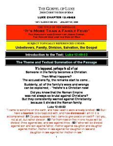 THE GOSPEL OF LUKE JESUS CHRIST THE SON OF MAN