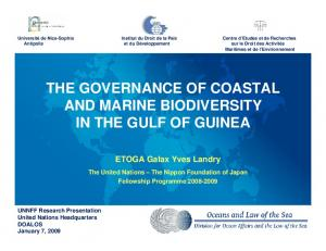 THE GOVERNANCE OF COASTAL AND MARINE BIODIVERSITY IN THE GULF OF GUINEA