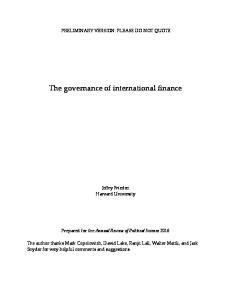 The governance of international finance