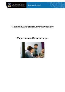 The Graduate School of Management. Teaching Portfolio