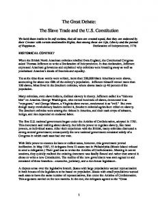 The Great Debate: The Slave Trade and the U.S. Constitution