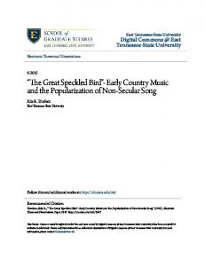 The Great Speckled Bird - Early Country Music and the Popularization of Non-Secular Song