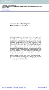The Great War and the Origins of Humanitarianism,