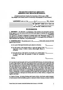 THE GREATER DANBURY BAR ASSOCIATION RESIDENTIAL REAL ESTATE SALES CONTRACT