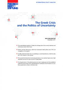 The Greek Crisis and the Politics of Uncertainty