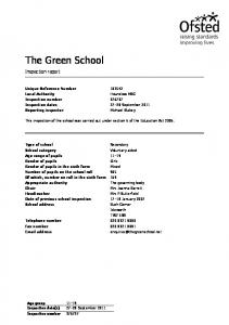 The Green School. Inspection report. Unique Reference Number Inspection number Inspection dates September 2011