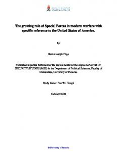The growing role of Special Forces in modern warfare with specific reference to the United States of America