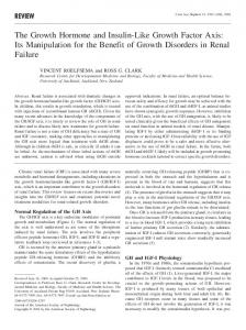 The Growth Hormone and Insulin-Like Growth Factor Axis: Its Manipulation for the Benefit of Growth Disorders in Renal Failure