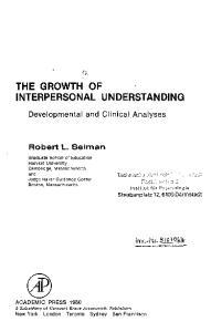 THE GROWTH OF INTERPERSONAL UNDERSTANDING