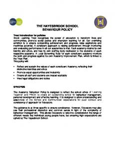 THE HAYESBROOK SCHOOL BEHAVIOUR POLICY