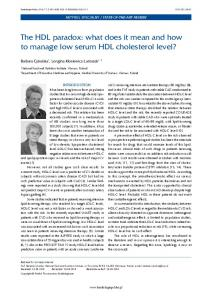The HDL paradox: what does it mean and how to manage low serum HDL cholesterol level?