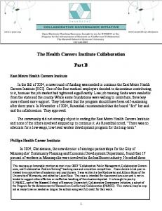 The Health Careers Institute Collaboration. Part B