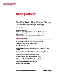 The Heat Is On: How Climate Change Can Impact Sovereign Ratings