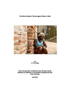 The Hidden Epidemic: Violence against Women in Haiti