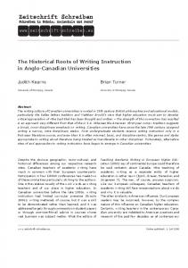 The Historical Roots of Writing Instruction in Anglo-Canadian Universities