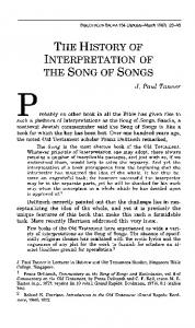 THE HISTORY OF INTERPRETATION OF THE SONG OF SONGS
