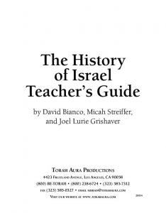 The History of Israel Teacher s Guide