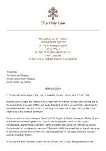 The Holy See APOSTOLIC EXHORTATION REDEMPTORIS CUSTOS