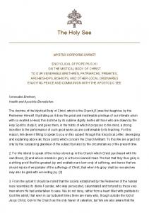 The Holy See MYSTICI CORPORIS CHRISTI