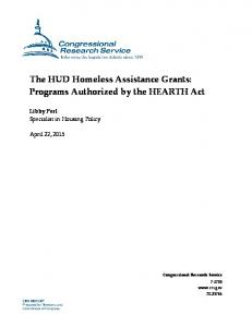 The HUD Homeless Assistance Grants: Programs Authorized by the HEARTH Act