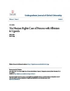 The Human Rights Case of Persons with Albinism in Uganda