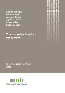 The Hungarian Monetary Policy Model