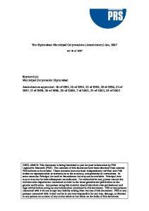 The Hyderabad Municipal Corporations (Amendment) Act, 1987