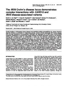 The IBD6 Crohn s disease locus demonstrates complex interactions with CARD15 and IBD5 disease-associated variants