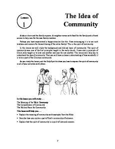 The Idea of Community