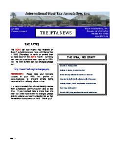 THE IFTA NEWS TAX RATES THE IFTA, INC. STAFF. 912 W. Chandler Blvd., #B 7 Chandler, AZ IFTA (4382)