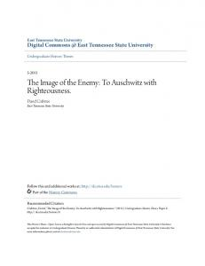 The Image of the Enemy: To Auschwitz with Righteousness