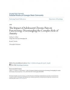 The Impact of Adolescent Chronic Pain on Functioning: Disentangling the Complex Role of Anxiety