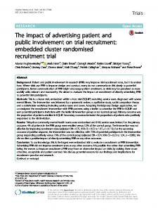 The impact of advertising patient and public involvement on trial recruitment: embedded cluster randomised recruitment trial