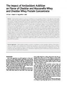The Impact of Antioxidant Addition on Flavor of Cheddar and Mozzarella Whey and Cheddar Whey Protein Concentrate