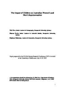 The Impact of Children on Australian Women s and Men s Superannuation