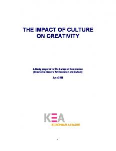 THE IMPACT OF CULTURE ON CREATIVITY. A Study prepared for the European Commission (Directorate-General for Education and Culture)