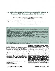 The Impact of Emotional Intelligence on Citizenship Behavior of Physicians (With Emphasis on Infertility Specialists)