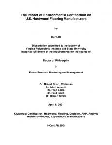 The Impact of Environmental Certification on U.S. Hardwood Flooring Manufacturers