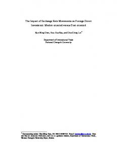 The Impact of Exchange Rate Movements on Foreign Direct Investment: Market-oriented versus Cost-oriented