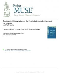 The Impact of Globalization on the Poor in Latin AmericaComments