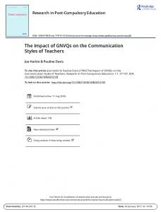 The Impact of GNVQs on the Communication Styles of Teachers