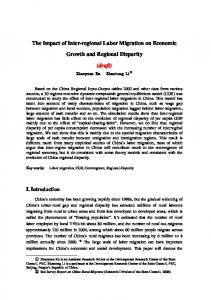 The Impact of Inter-regional Labor Migration on Economic Growth and Regional Disparity (draft)