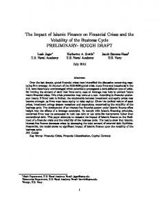 The Impact of Islamic Finance on Financial Crises and the Volatility of the Business Cycle PRELIMINARY- ROUGH DRAFT