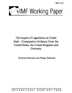 The Impact of Legislation on Credit Risk Comparative Evidence From the United States, the United Kingdom and Germany