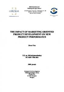 THE IMPACT OF MARKETING ORIENTED PRODUCT DEVELOPMENT ON NEW PRODUCT PERFORMANCE