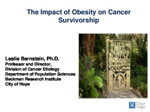 The Impact of Obesity on Cancer Survivorship