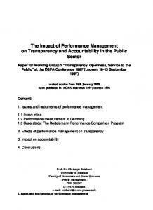 The Impact of Performance Management on Transparency and Accountability in the Public Sector