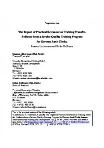 The Impact of Practical Relevance on Training Transfer. Evidence from a Service Quality Training Program for German Bank Clerks