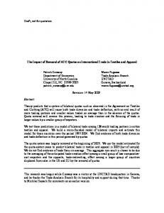 The Impact of Removal of ATC Quotas on International Trade in Textiles and Apparel