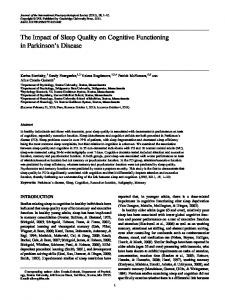 The Impact of Sleep Quality on Cognitive Functioning in Parkinson s Disease